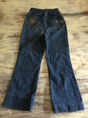 Girls Vintage 70's Wrangler Bell Bottom Jeans  Sz 6X - Decorated Pockets