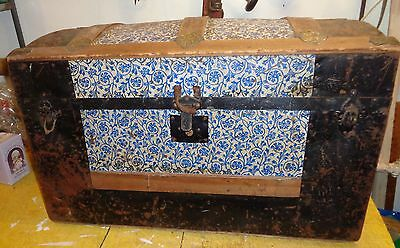 Vintage CAMELBACK TRUNK storage chest steamer  humpback box wooden antique