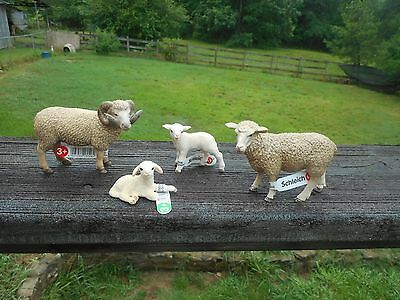 SHEEP FAMILY by Schleich; ram/ewe/lamb/13743/13726/13745/13744
