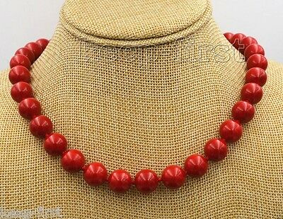 "Fashion Women's 10mm Natural Red Coral Gemstone  Round Gemstone Necklace 18""AAA"