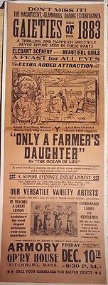 1883 FARMERS DAUGHTER Broadside Theatre Poster ARMORY OP'RY HOUSE Fitchburg MA