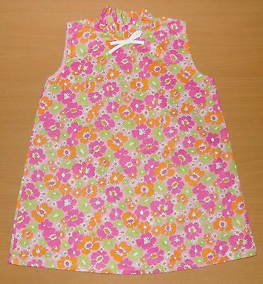 AUTHENTIC VINTAGE 1970's UNWORN GIRLS FLORAL FRILL NECK DRESS PINK 2-3 YEARS