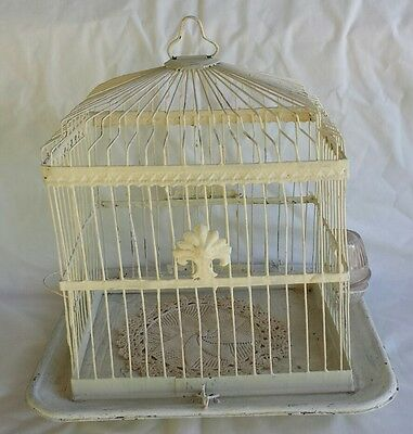 Vintage  Metal Wire White Bird Cage Ornate w/ Glass Ribbed Water Dish