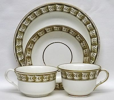 Georgian SPODE Pearlware Coffee & Tea Cup & Saucer TRIO + PLATE c1815 - 1