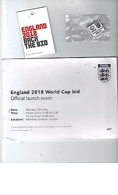 Pass + Badge + Ticket - England 2018 World Cup Bid