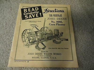 Old Vintage John Deere No 999L Corn Planter Manual-Directions & Repair List.