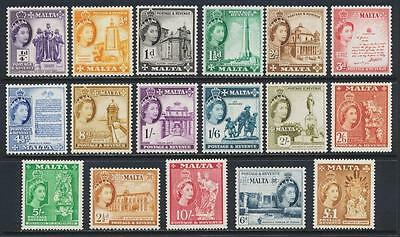 Malta 1956 Qe2 Set, Vf Lh Og Sg#266-82 Cat$170+/-(See Below Part Of Group)
