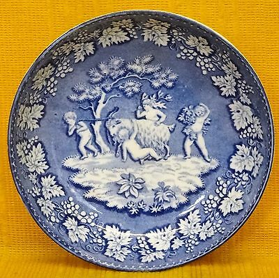 19C Blue +White Saucer Bacchanalian Cherubs With Goat, William Smith? c1825