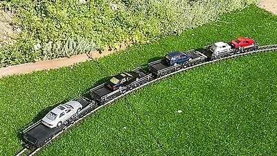 Four (4) LGB G Scale car transporter wagons with 5 cars - excellent condition