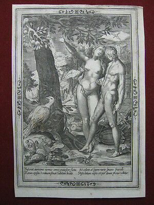 Kupferstich nach Jan Saenredam: Sündenfall 1604/Engraving Fall of Mankind