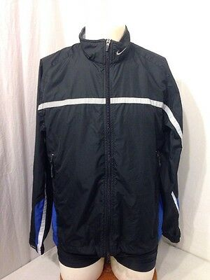 Men's Black With Blue And Reflective Accents Nike Jacket – Size M