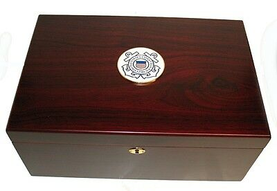 120 Cigar Humidor Cigar US Coast Guard Cedar Lined Brass Accents Hygrometer