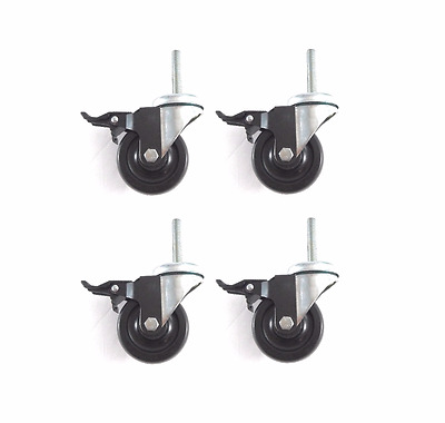 """(Four) Clearance Stem Casters with 3-1/2"""" Wheel Brake & 1/2"""" Threaded Stem"""