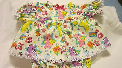 "Care Bears Print Dress/Bloomers fits 16-18""Cabbage Patch/Beren Babies"