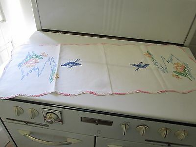 Vintage Dresser Runner Table Embroidery Blue Bird