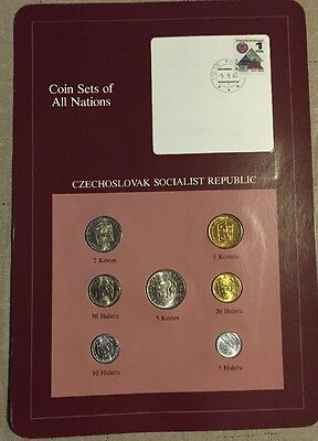 Seven Coin Set Uncirculated 1974-1982 CZECHOSLOVAKIA Coins Of All Nations