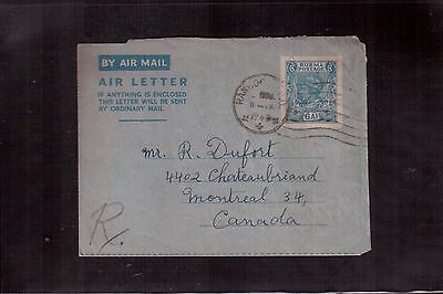 Burma 1947 Air Letter (Aerogram) To Canada !!