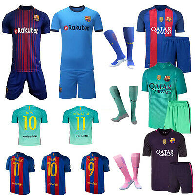 Kids Boys16/17/18 Football Kits Soccer Short Sleeve Team Suit  3-14y+Socks