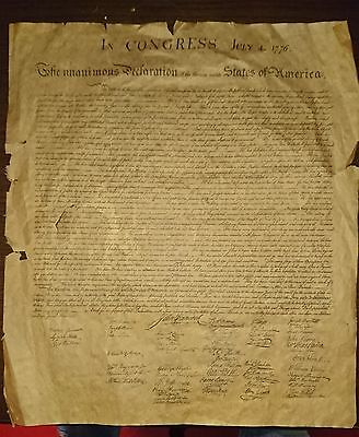 Old Manuscript. The Declaration of Independence. Dated July 4 1776