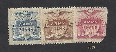 """Old Poster Stamps - U. S. 1898 """"Army Frank"""" Official Business Only Stamps"""