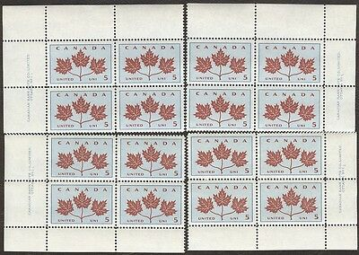 Stamps Canada # 417, 5¢, 1966, plate #1, 4 plate blocks of 4 MNH stamps.