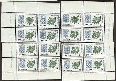 Stamps Canada # 420, 5¢, 1966, plate #1, 4 plate blocks of 4 MNH stamps.