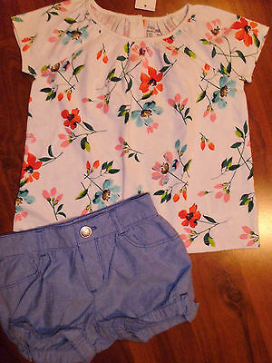 2 T BABY GAP Gymboree 2pc Shorts Flower Shirt Top Outfit Kids Toddler Girl NWT