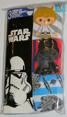 New Star Wars Luke Skywalker Vader Gray Blue Toddler Boys Briefs Underwear Sz 4T