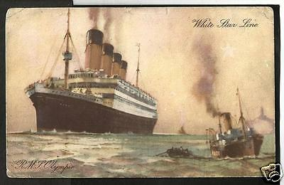 GTN Early Art Postcard, White Star Line RMS Olympic - faults