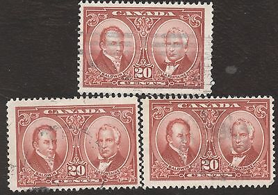 Stamps Canada # 148, 20¢ 1927, 1 lot of 3 used stamps.
