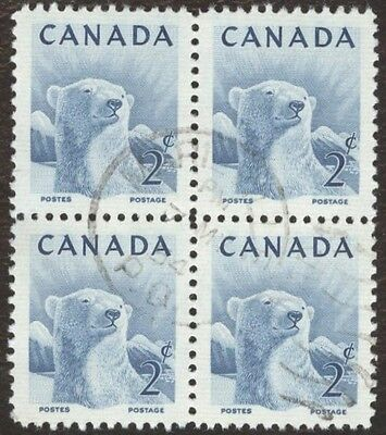 Stamps Canada # 322, 2¢, 1953, 1 blocks of 4 used stamps .