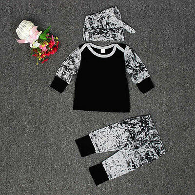 Baby Boys Outfit Clothes Long Sleeve Printing T-Shirt+Long Pants+1Set Hat 90 US