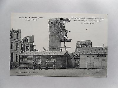 1918 Postcard. La Bassee in Ruins Post-WWI. Mairie Provisoire/ Town Hall. France