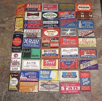 40  Different Empty Vintage Razor Blades Boxes