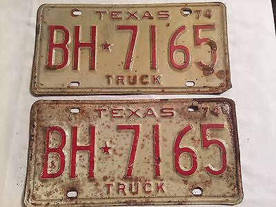 Vintage 1974 Pair Texas Truck License Plates Rat Rod Mancave Rustic BH 7165