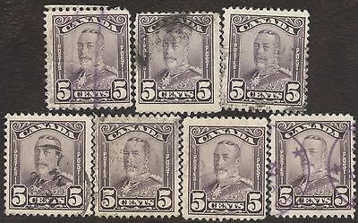 Stamp Canada # 153, 5¢, 1928, lot of 7 used stamps.