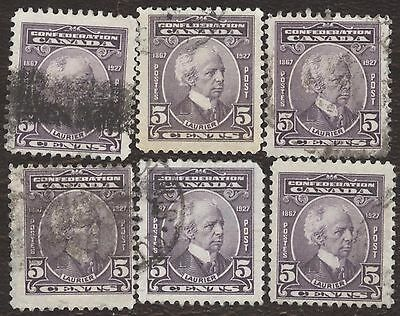 Stamp Canada # 144, 5¢, 1927, lot of 6 used stamps.