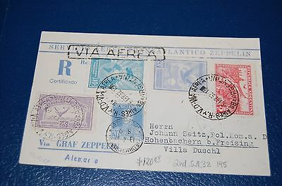Argentina  Zeppelin Card 1932  to Germany Sieger 145  Fully Marked