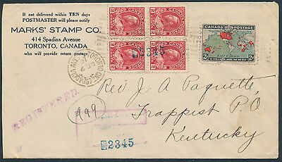 1916 Stamp Dealer Cover, Registered to USA, Map Stamp + 2c Admiral Block