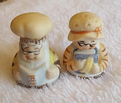 1980's Hershey's checking twice woman & man bakers bust thimble set lot glass