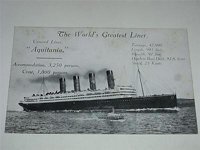 Vintage Shipping Postcard - Cunard Liner Aquitania - The Worlds Greatest Liner!