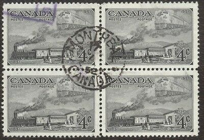 Stamp Canada # 311, 4¢, 1951, 1 block of 4 used stamps.