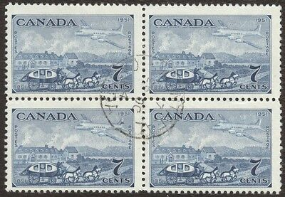 Stamp Canada # 313, 7¢, 1951, 1 block of 4 used stamps.