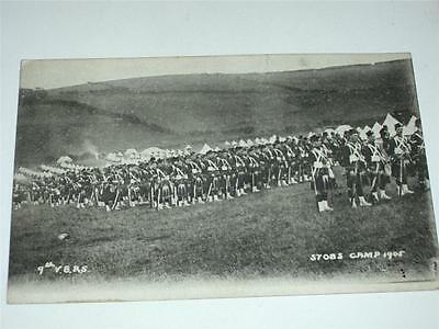 9th VOLUNTEER ROYAL SCOTS IN STOBS CAMP 1905 PRE WW1 MILITARY POSTCARD!