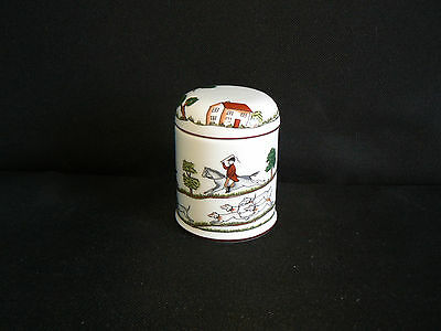 Coalport Spice Jar / Mustard Pot & Lid - Hunting Scene - Fox Hunting With Hounds