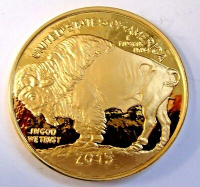 2015 American Gold Buffalo Proof Tribute Medal  24k Gold Plated Coin token