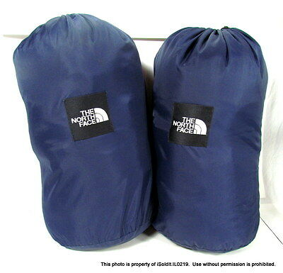 LOT 2 Blue THE NORTH FACE SLEEPING BAGS Mummy Style w/ Case Bag