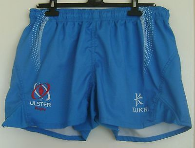 """Blue Player Issue Ulster Rugby Shorts, Small, 32"""" Waist."""