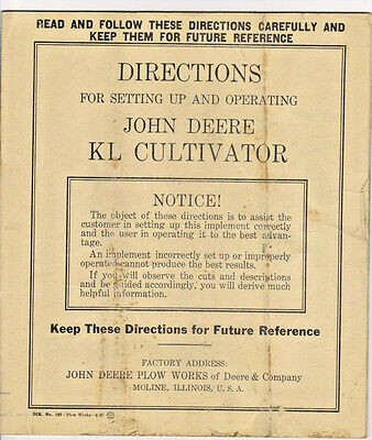 1936 John Deere Instruction Book for KL Cultivator #197