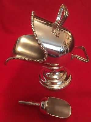 Vintage English Silver Plated Sugar Scuttle With Scoop c.1960's